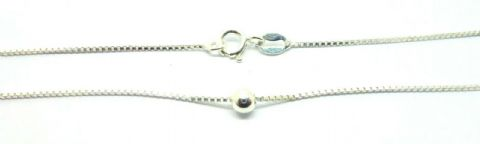 Sterling Silver Box and Ball Link Ankle / Anklet  Chain